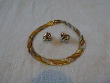9kt Oro tricolore Bracciale e Orecchini Set Bianco Giallo Rosa 3 TRE COLORI
