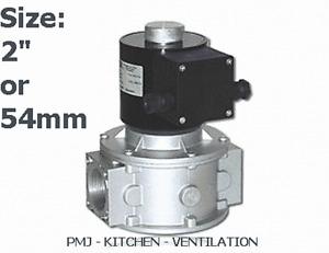 """Gas Solenoid Valve 54mm 2"""" for Gas Interlock System Shut Off Kitchen Canopy"""