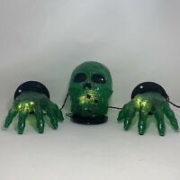 Halloween Green Skull and Hands Light Set 20 Clear Lights Indoor/Outdoor Use