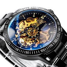 Winner Automatic Mechanical Men's Skeleton Black Wrist Watch Stainless Steel