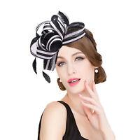 Women Sinamay Fascinator Cocktail Headband Wedding Kentucky Derby Ascot Hat T222