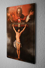 Tin Sign Baron Jesus on the cross and God in heaven above him Vintage
