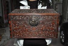 Old Chinese huanghuali wood hand-carved dragons storage box Treasure container