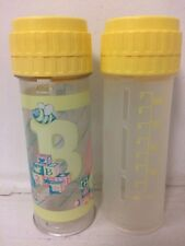 Lot of 2 Vintage Playtex Nurser Bottles 1988 Yellow ABC's Decorated 8 Ounce