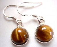 Very Small Round Tiger Eye 925 Silver Earrings India