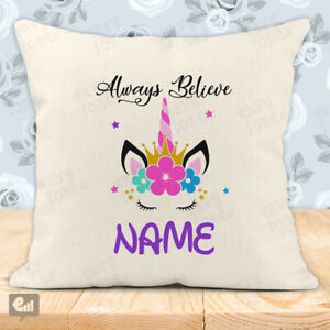Personalised UNICORN Stars Cushion Cover Pillow Case Home Decor Room Girly Gift