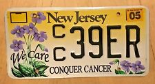 """NEW JERSEY LICENSE PLATE """" CC 39 ER """" CONQUER BREAST CANCER WE CARE FLOWERS"""