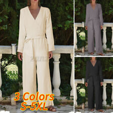 Plus Size Womens Long Sleeve Jumpsuit Tie Waist Wide Leg Formal Romper Playsuits