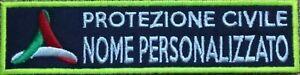 Toppa patch PROTEZIONE CIVILE NOME BANDIERA QUALIFICA LOGO PERSONALIZZABILE