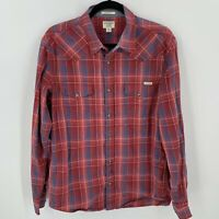 Lucky Brand Jeans Classic Fit Red Blue Plaid Western Snap Closure Shirt Mens M