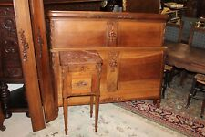 Beautiful French Antique Walnut Bedroom Set Full Size Bed Nightstand