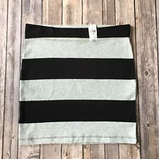 New GAP Skirt Women XS 0 2 Gray Black Cotton Pencil Straight Striped Bodycon