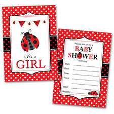 20 Baby Shower Cards and 20 Envelopes 'It's a Girl' Ladybug