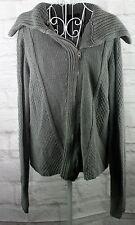 Calvin Klein Ladies Sweater Cardigan Gray Zipper Front Long Sleeve Size Large