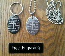 FREE ENGRAVING (PERSONALIZED) Serenity Prayer Keychain Key Ring (Necklace)