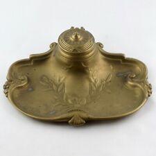 """ENCRIER Ancien Bronze ou Laiton """"Fleurs"""" Art Nouveau French Inkwell Jugendstil"""