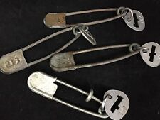 "Lot 4 Large Vintage Numbered Metal Laundry Safety Pins 5"" w/Key Tags! Art-Crafts"