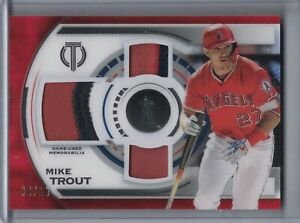 MIKE TROUT 2019 Topps Tribute Triple Relics Jersey Patch Red #04/10 ⚾F1271⚾