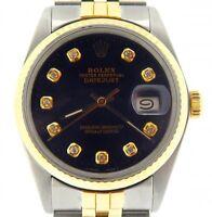 Rolex Datejust Mens Stainless Steel 18K Yellow Gold Watch Diamond Black 16013