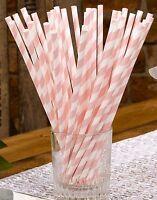 Pink & White Striped Paper Straws x 25 - Birthday/Baby Shower/Wedding Table