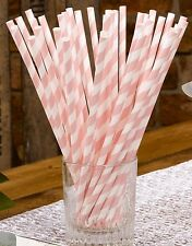 PINK & WHITE a Righe Carta Cannucce X 25-Compleanno/Baby Shower/WEDDING TAVOLO