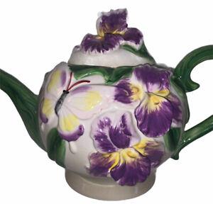 Stunning Majolica TEAPOT Baum Bros FORMALITIES purple Violets butterflies Mint