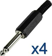 4x Connecteur prise Audio Mono Jack 6,35mm Male à souder / Connector plug solder