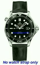 20mm LEATHER STRAP BLACK & DEPLOYANT CLASP for  OMEGA DIVER 300M Co-Axial