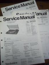 Technics Service Manual for the SL-BD20 SL-BD25U SL-BD20A~Turntable~Original