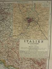 1907 datato mappa ~ North East Italia Roma dintorni CITY piano ABRUZZO MOLISE Croazia