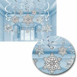 30 Christmas Winter Wonderland Snowflake Swirl Frozen Party Ceiling Decoration
