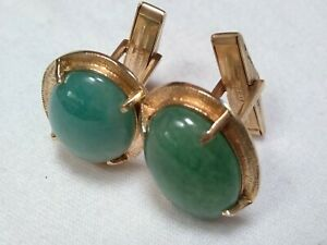 """Vintage 14k Gold Cufflinks. Jade. 1' x 3/4"""". Wt is 16.5 Grams. Gem is 19mm x 13m"""
