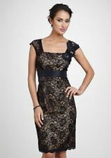 New Km Collections by Milla Bell Black Nude Embellished Floral Lace Dress 8 $96