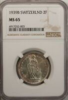 Switzerland  2 Francs  1939 B NGC MS 65 UNC Silver Bern Mint High Grade