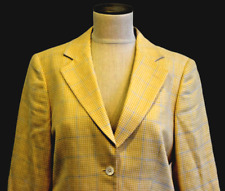 Brooks Brothers EXCELLENT Yellow Blue Silk Linen Wool Italy Blazer Jacket Size 8