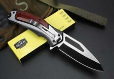 Hunting 5Cr15M Knife Folding Stainless Steel Blade Wood Handle ArmyTactical BU11