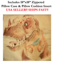 "18"" 18x18 TREX T-REX REX Tyrannosaurus Dinosaurs Zippered Throw Pillow Cushion"