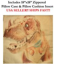 "18"" 18x18 Trex T-Rex Rex Tyrannosaurus Dinosaurs Zippered Throw Pillow Cushion"