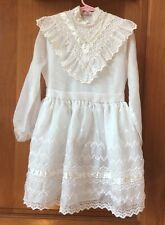 Vtg Girls First Communion Size 8 Lace Embroidered Dress By Hollywood Made In USA