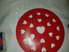2 Red White Decorative Heart and Lattice Pie Top Cutter Mould