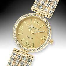 NEW Geneva 62623473 Platinum Glitz & Glamor Womens Gold Metal Bezel Watch 30M