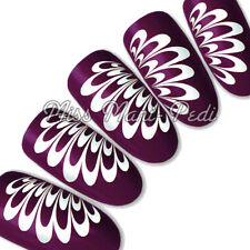 Nail Art Water Decals Transfers Stickers Wraps White Splash or Angel Wings Y014