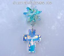 m/w Swarovski 40mm AB Cross and RARE AB Aqua Star Suncatcher Lilli Heart Designs