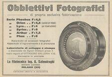 Z1759 Obbiettivi Fotografici Ing. SALMOIRAGHI - Pubblicità d'epoca - 1923 Old ad