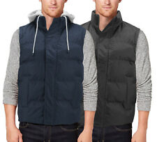 Men's Quilted Puffer Packable Warm Zipper Lightweight Vest With Removable Hood