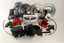 1966-74 Mopar B & E Body Charger  Disc Brake Kit Black Out Booster Red Calipers