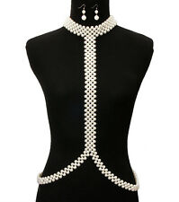 """12"""" gold cream pearl choker necklace 1.75"""" earrings collar body chain"""