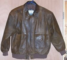 Men's Size Medium Distressed Brown Leather Bomber Coat Jacket USAF M Air Force