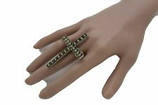 Elastic Band Cross Spikes Studs Religious Women Vintage Gold Ring Metal Fashion