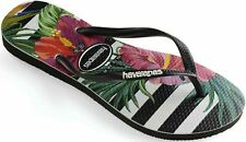 Havaianas Slim Tropical Floral Black Womens Summer Flip Flops